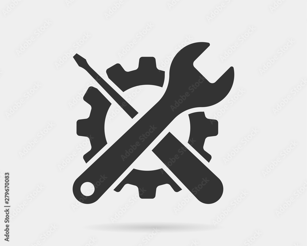 Obraz Tools vector wrench icon. Spanner logo design element. Key tool isolated on white background. fototapeta, plakat