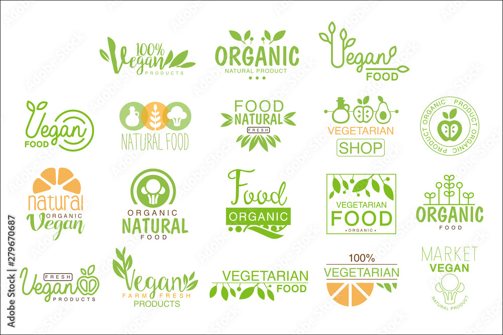 Fototapety, obrazy: Vegan Natural Food Set Of Template Cafe Logo Signs In Green, Orange Colors Promoting Healthy Lifestyle And Eco Products