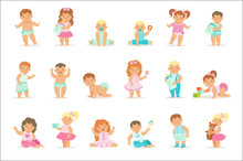 Adorable Smiling Babies And Toddlers In Blue And Pink Outfits Doing First Steps, Crawling And Playing Set Of Illustrations