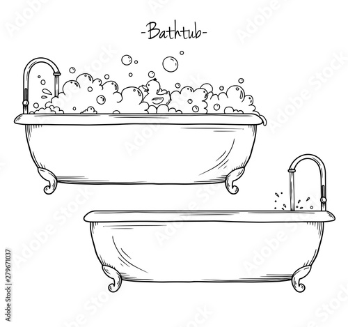 Photographie Sketch bath foam and rubber duck