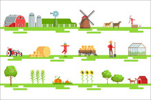 Farm Related Elements In Geometric Style Set Of Illustrations
