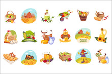 Farm Products And Animals Set Of Bright Stickers