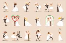 Newlyweds Posing And Dancing O...