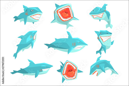 Great White Shark Marine Fish Living In Warm Sea Waters Realistic Cartoon Charac Wallpaper Mural