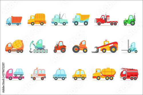 Public Service, Construction And Road Working Cars Set Of Colorful Toy Cartoon Icons