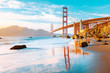 canvas print picture - Golden Gate Bridge at sunset, San Francisco, California, USA