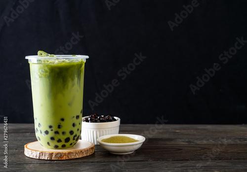 green tea latte with bubble Wallpaper Mural