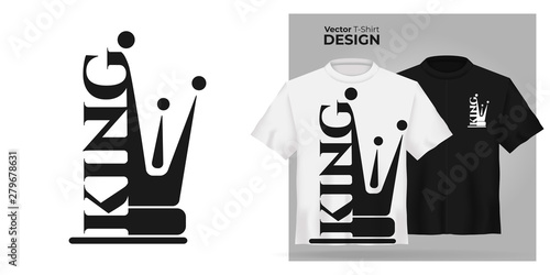 Obraz Vector male t-shirt mock up set with flat icon king with  prince crown silhouette. 3d realistic shirt template. Black and white boy tee mockup, front view design, man royal pattern - fototapety do salonu