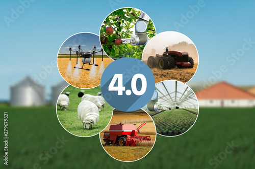 Aufkleber - Smart farming and digital agriculture 4.0 concept