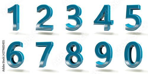 Fotomural  3D number with white background