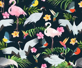 Fototapeta Orientalny Seamless pattern with exotic birds and tropical plants.