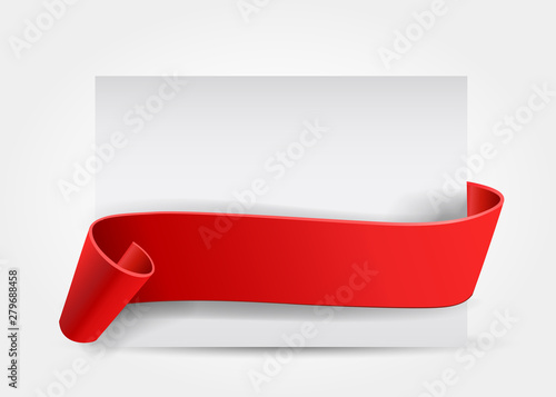Obraz Realistic curved, Red paper banner on white background.Congratulations. Greating card.Blank. Red ribbon. Paper scroll. Vector - fototapety do salonu