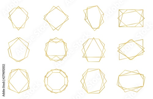Golden geometric frame. Luxury wedding invitation polyhedron art deco elements, modern border shape. Vector decorative abstract shapes templates for design wedding invitation
