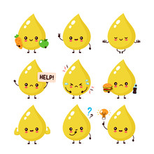 Cute Happy Smiling Urine Drop Character