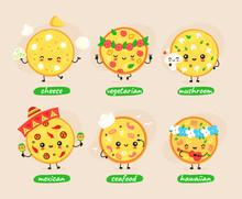 Cute Happy Pizza Character Set