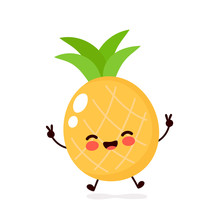 Cute Happy Smiling Pineapple Character
