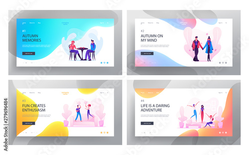 Foto auf Gartenposter Cartoon cars Loving Couple Dating and Fooling Website Landing Page Set, Man, Woman Walking , Visiting Cafe for Drinking Hot Beverage, Fighting with Pillows, Love Web Page. Cartoon Flat Vector Illustration, Banner