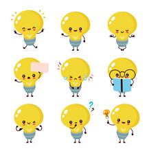 Cute Happy Smiling Light Bulb Character