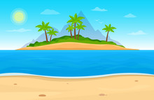 Tropical Island In Ocean. Landscape With Ocean Palm Trees, Beach. Travel Vector Background.