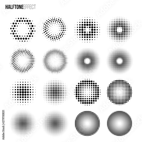 Vector halftone effect set Canvas-taulu