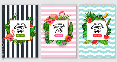 Summer sale poster set. Tropical banner frame design template. Vector illustration of palm leaves, flamingo and flowers