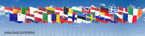 Silk waving 28 flags of countries of European Union Canvas Print