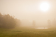 Early Morning Fog On A Golf Course, Stowe Vermont, USA