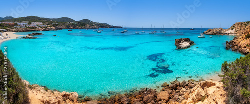 Ibiza Cala Tarida beach in Balearic Islands