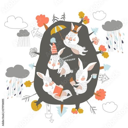 Cute cartoon rabbits in den. Hello autumn