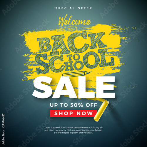 Back to School Sale Design with Typography Letter and Chalk on Chalkboard Background. Vector Illustration for Special Offer, Coupon, Voucher, Banner, Flyer, Poster, Invitation or greeting card. Wall mural