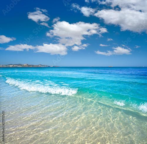Ibiza Playa d En Bossa beach in Balearic Islands