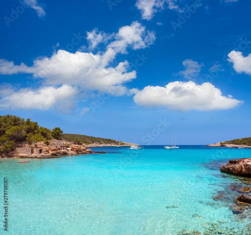 Photo Stands Turquoise Ibiza Portinatx Arenal Petit beach in Balearics