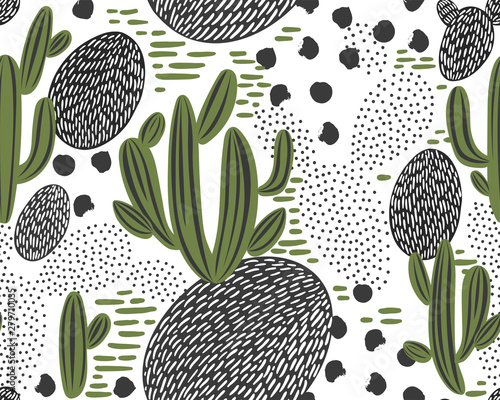 Obraz na plátne  Vector seamless pattern with cactus on white background