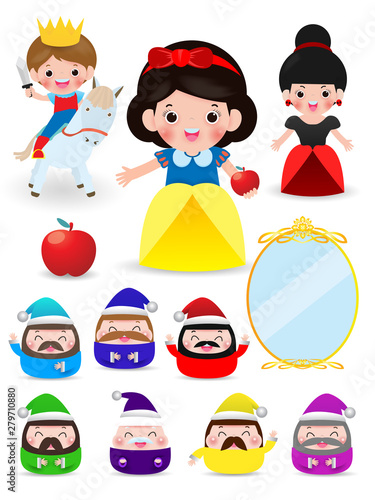 snow white and the seven dwarfs, Snow White on white background, prince, Princes Wallpaper Mural