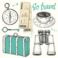 Travel Hand-drawn Set With Tic...