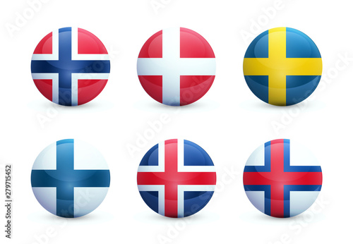 Fotografering Set of round shiny spheres with national flags of scandinavian countries