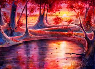 Watercolor autumn forest la...