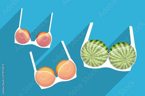 Obraz Brassieres with fruits inside. Different bra sizes - fototapety do salonu