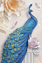 3d Mural Background Blue Peacock On Branch Wallpaper . With Flowers