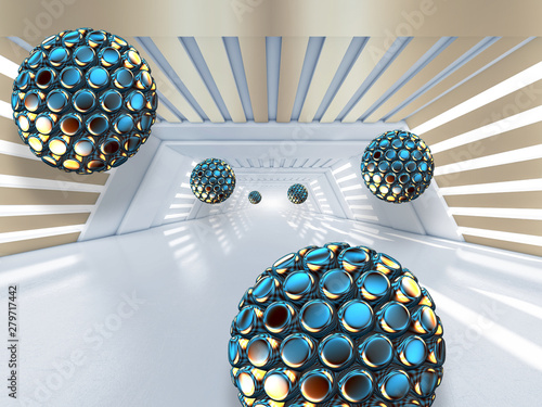 Illustration of 3D  black and blue crystall ball pattern on decorative background 3D white tunnel wallpaper