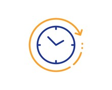 Clock Sign. Time Change Line Icon. Watch Symbol. Colorful Outline Concept. Blue And Orange Thin Line Time Change Icon. Vector