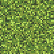 Seamless Woodland Green Digital Pixel Military Fashion Camouflage Pattern Vector