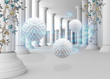 Fototapeta Do przedpokoju - 3d tunnel columns mural background with 3d balls modern wallpaper . will visually expand the space in a small room, bring more light and become an accent in the interior