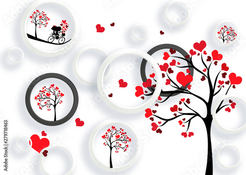 Obraz 3d mural valentine love background with circles and hearts tree - fototapety do salonu