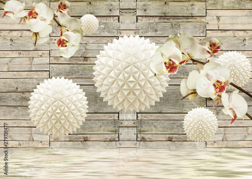 3d mural wood background  with flowers and 3d balls