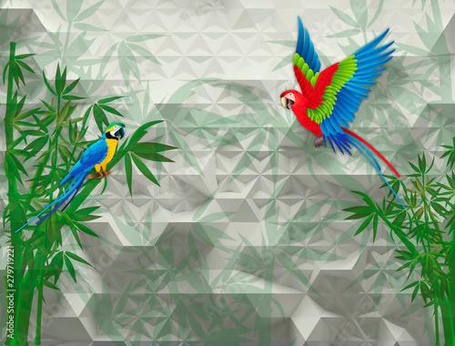 3d-mural-streszczenie-tlo-z-biala-i-szara-geometryczna-tapeta-z-papuga-i-zielona-galazka