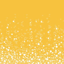 Fizzy Champagne Drink Isolated On White Background. Air Bubbles. Vector