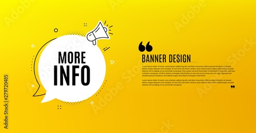 Fototapeta More info symbol. Yellow banner with chat bubble. Navigation sign. Read description. Coupon design. Flyer background. Hot offer banner template. Bubble with more info text. Vector obraz
