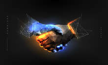 Handshake. Abstract Illustration Isolated On Black Background. Polygonal Wireframe Composition. Gesture Hands. Development Symbol. Plexus Lines And Points In Silhouette.