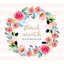 Pink Blossom Floral Watercolor Wreath